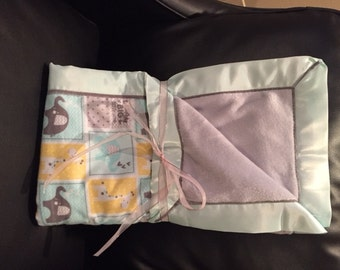 Grey and Mint Green Baby Blanket