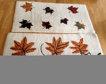set of 2 theme fall vintage rug