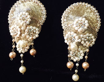 Burlesque Showgirl - Teardrop Rose Gold Vintage Pearl Pasties