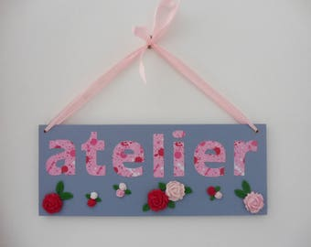 """Door plate, plate for your """"workshop"""" - pink and slate blue"""