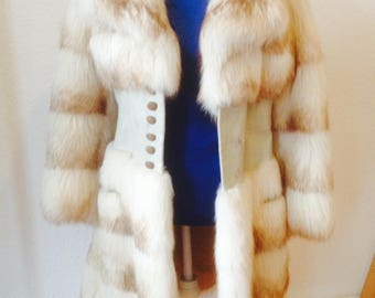 Old Hollywood glamour fur leather coat
