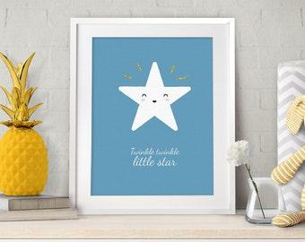 Twinkle Twinkle Little Star, Boy Nursery Decor, Nursery Art, Nursery Prints, Baby Gift , Scandinavian Style, Nursery Wall Art, Blue, Stars