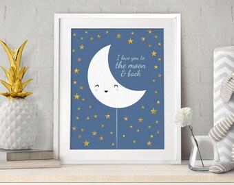 Scandinavian Print, To the moon, I love you to the moon, Nursery Prints, Moon print, Baby Gift, Nursery Wall Art, Star art, Minimal Nursery