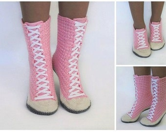 Crochet Pattern Sneaker Boots Sneakers Sizes: 5/6-7/ 8-9/ 10-11
