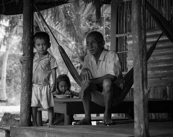 Family, Koh Rong, Cambodia - Print Photograph/Black and White/People/Travel Photography/Wall Art/Home Decor