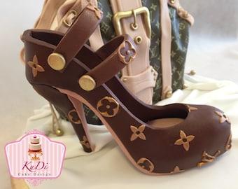Louis Vuitton high heel heels shoes 3D Cake Topper fondant