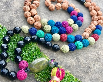 Lava Onyx Rudraksha Hand Knotted Mala Aroma Tassel Necklace 8mm