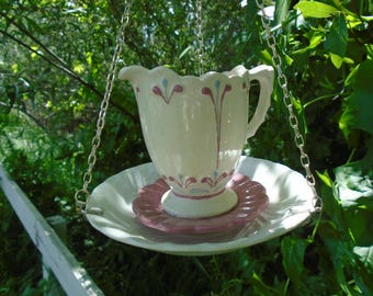 Hand Crafted, Ceramic, Three Piece, Hanging, Creamer/Saucer, Bird Feeder