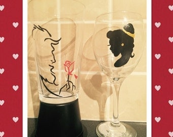 Beauty and The Beast Glass. His And Hers Glass Set-Hand painted glasses-Valentines/Anniversary