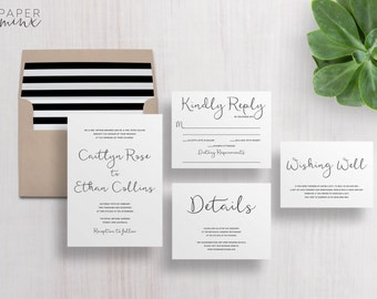 Wedding Invitation   Wedding Invitation Suite   Calligraphy Invitation   Black and White Invitation   Printed Wedding Suite   Caitlyn
