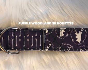 Purple Woodlands Silhouettes: girl dog collar, deer dog collar, Martingale