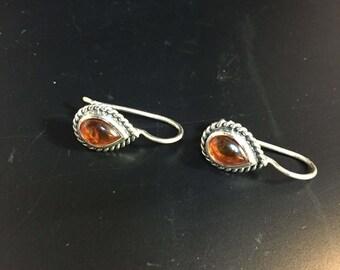 Vintage Amber and Sterling Silver Hoop Earrings, , Water Drop shaped  2218