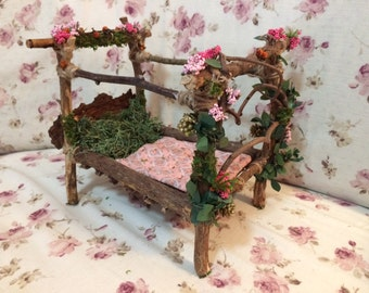 Fairy and Wee Folk Wooden Bed. Fairy Bed. Decorated Wood. Collectible. OOAK. Handmade. Whimsical.