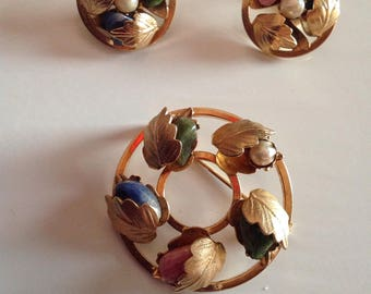 Signed Sarah Coventry Genuine Stone Brooch & Earring Set