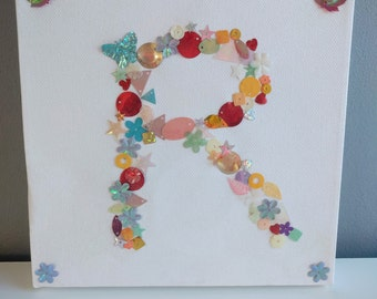 Sequin Sparkles Initial Canvas Art - Any Letter Available