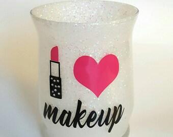 Chunky white glitter makeup holder. Brush. I love makeup. Heart. Rhinestones. Pink. Black. Vanity desk decor