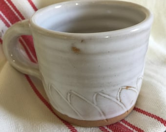 White Coffee Cup with Sgraffito