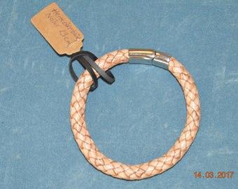 Mens braided genuine leather bracelet.