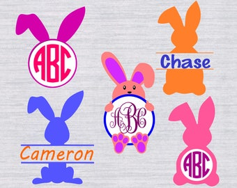 Easter Monogram SVG Bundle Bunny Silhouettes Clipart Files For