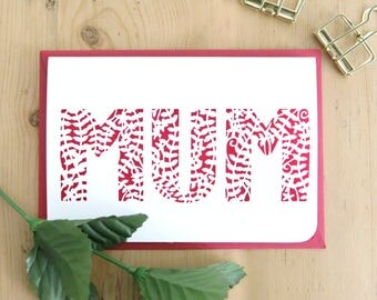 Mother's Day Card, Best mum card, Card for mom, Card for mum, Mum papercut card, Card for mother, Best mother card, Luxury mum card