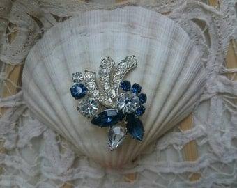 Vintage blue shooting star - flashy rhinestone brooch, pins, jewelry, PIN, silver, jewel