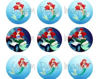 "INSTANT DOWNLOAD Princess Ariel Bottle Cap Image Sheet | Digital Image Sheet | 4""x6"" Sheet with 15 Images"