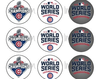 "INSTANT DOWNLOAD Chicago Cubs World Series Bottle Cap Image Sheet | Digital Image Sheet | 4""x6"" Sheet with 15 Images"