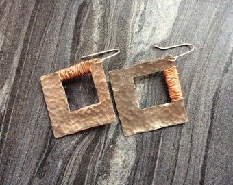 Hammered silver earrings, mixed metal earrings, square sterling silver earrings