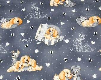 lt006 - 1 Yard SDLP Cotton Woven Fabric - Cartoon Characters, Lady and the Tramp, Babys - Gray (W140)