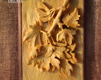 "Woodcarving in a frame ""MAPLE"", handcarved wall art from limewood 33x22 cm"