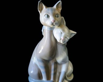 """Large Porcelain 10"""" Cat Figurine Made In Spain,  Collectible Cat Lover Figurine,  Beautiful Peach , Gray, White Cat Statue"""