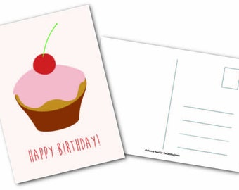 Greeting card ' Happy birthday! Cupcake '