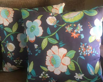 Grey Floral Set of 2 Decorative Pillows-Home Decor-Living Room-Bedroom-17 x 17-Handmade