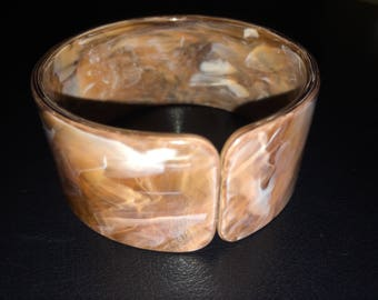Vintage brown marbled cuff bracelet