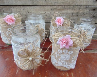Set of 6 Shabby Chic Rustic Mason Jars with Roses, Rustic Wedding Decor,Wedding Mason Jars ,Mason Jar Centerpieces,Rustic Country decor