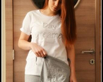 Day Dreamer Pyama   white / grey set