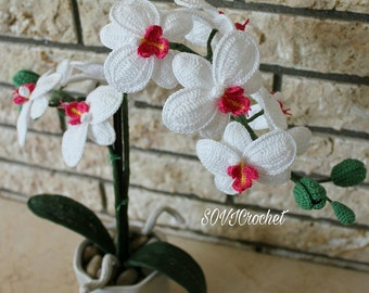 White Orchid made with fine cotton yarn very realistic