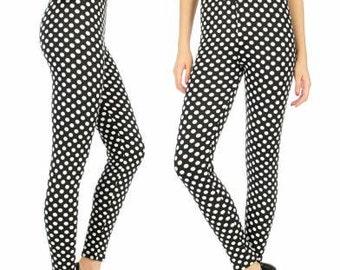 Polka Dot Leggings Black and White Leggings Printed Leggings Womens Leggings Yoga Leggings Black Leggings High Waist FREE U.S. SHIPPING