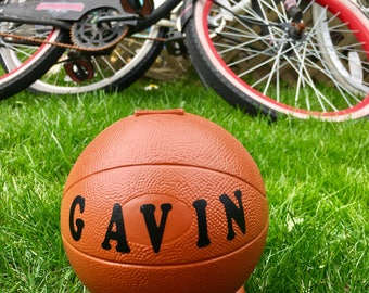 Personalized Basketball Coin Bank
