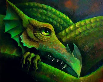 I am Kahoanvoha! Mixed Media on deep edge canvas. 91x91cm. Dragon Art.