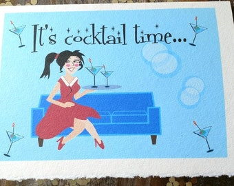 Retro Thinking of you Card, Retro Martini Glass Card, Miss you Card, Woman in Red Dress, Let's get together card