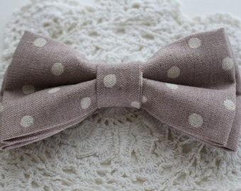 Mink and Ivory Polka Dot Bow tie