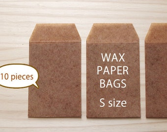 Clearance Sale - 10pce - Waxed paper bags - Brown color - S SIZE