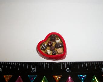 1:12 Scale Dollhouse Miniature Handcrafted Valentines Day Chocolate Candy Sweet Red Dessert Heart Box