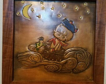 Little Boy at Sea Copper Relief Art