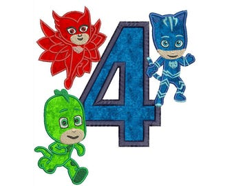 Pj Masks 4th Birthday Embroidery Applique Design Instant Download 3 sizes