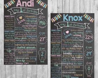 Twin First Birthday Chalkboard Posters - Digital