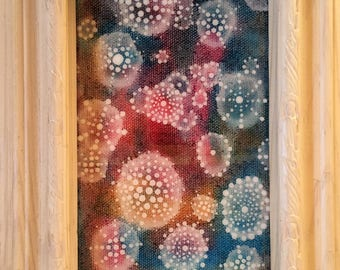 6.5 x 8.5 framed orb painting; acrylic and resin