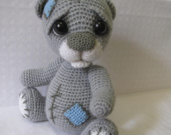 Teddy bear, Crocheted Teddy bear, Sad bear, Amigurumi bear, Crochet toy, Сuddly toy, cute bear, gray teddy, mini bear, wedding teddy bear