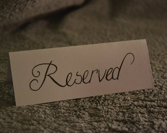 Turbine White calligraphy reserved seating sign - weddings, events, parties, screenings